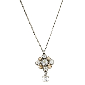Chanel Silver Tone CC Crystal Pendant Necklace