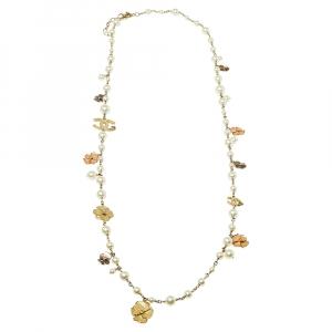Chanel Gold Tone Faux Pearl Enamel Camellia CC Charm Necklace