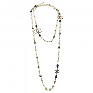 Chanel Gold Tone Black Enamel Crystal CC Charm Necklace