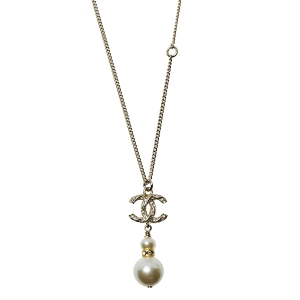Chanel Gold Tone Crystal Pearl Twisted CC Drop Pendant Necklace