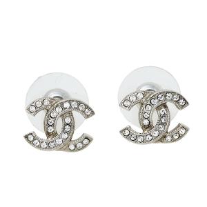 Chanel Silver Tone Crystal CC Mini Stud Earrings