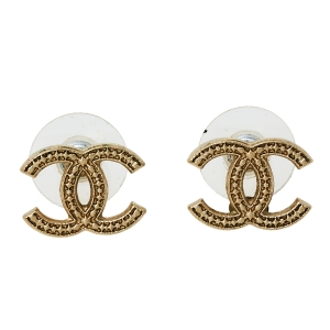 Chanel Gold Tone Textured CC Stud Earrings