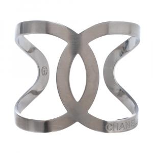 Chanel CC Silver Tone Wide Open Cuff Bracelet