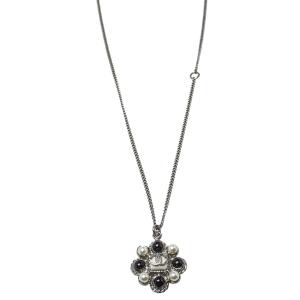 Chanel Dark Silver Tone Faux Pearl CC Pendant Necklace