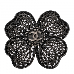 Chanel Gunmetal Tone Filigree Floral Pin Brooch
