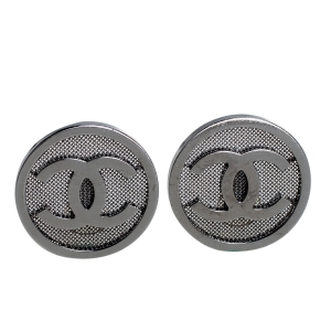 Chanel Ruthenium Tone Mesh CC Logo Clip-On Earrings