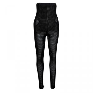Chanel Black Perforated High Waist Trousers M