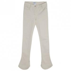 بنطال شانيل أبيض جيوب مطرزة S
