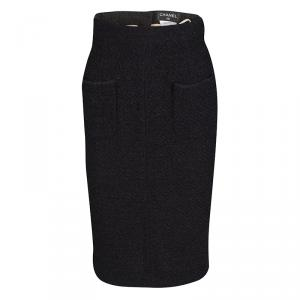 Chanel Black Textured Patch Pocket Detail Pencil Skirt  S