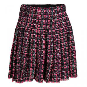 Chanel Multicolor Lurex Detail Textured Pleated Mini Skirt S