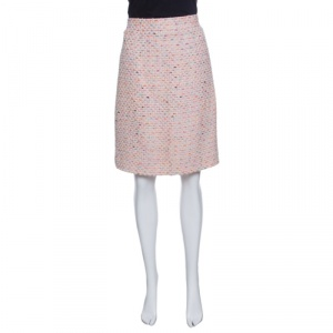 Chanel Vintage Pink Textured Pencil Skirt L