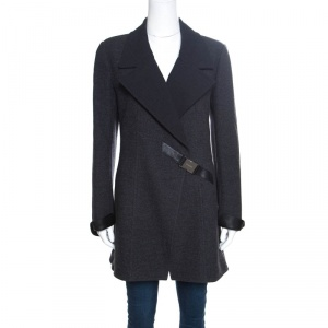 Chanel Vintage Charcoal Grey Leather Trim Buckle Detail Double Breasted Coat M