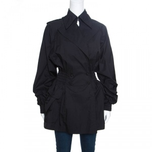 Chanel Black Nylon Smocked Waist Double Breasted Trench Coat M
