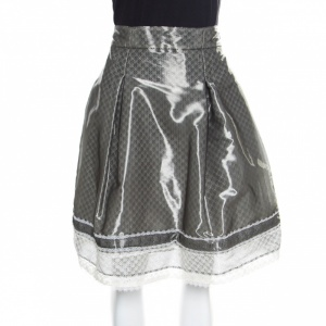 Chanel Grey and White Lace Trim Pleated Organza Skirt XL