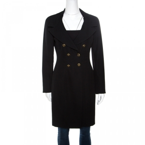 Chanel Boutique Vintage Black Wool Low Cut Double Breasted Coat M