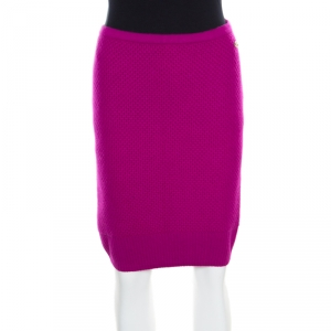 Chanel Fuschia Pink Textured Cashmere Knit Pencil Skirt M