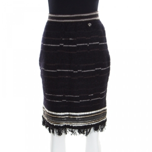 Chanel Black Wool and Mohair Embellished Fringe Bottom Pencil Skirt M