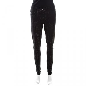 Chanel Black Paint Splatter Printed Wool Pants M