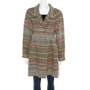 Chanel Multicolor Silk Blend Tweed Double Breasted Long Coat M