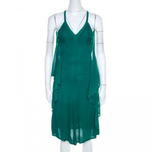 Chanel Emerald Green Perforated Mesh Knit Back Tie Detail Draped Dress S - used