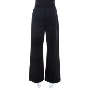 Chanel Navy Blue Cotton High Waist Tailored Wide Leg Trousers M