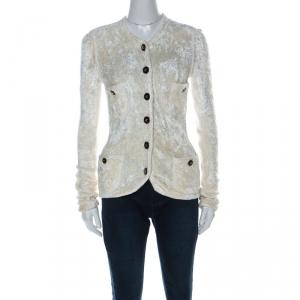 Chanel Off White Velvet Feel Button Detail Cardigan M
