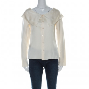 Chanel  Off White Silk Wide Bertha Collar Long Sleeve Top M
