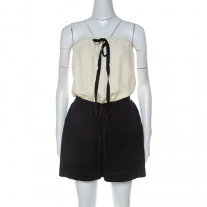Chanel Monochrome Linen and Silk Strapless Romper M - used
