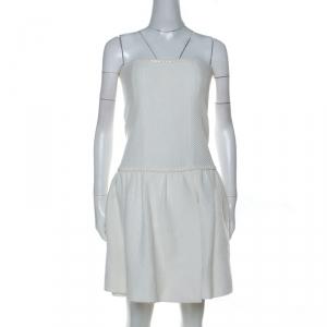 Chanel White Crochet Knit Cotton Blend Strapless Short Dress M