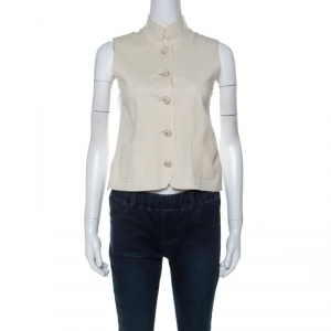 Chanel Ivory Geometric Knit Silk Blend Mandarin Collar Vest Jacket S