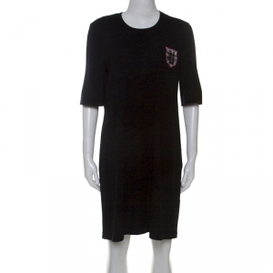 Chanel Black Wool Edinburgh Emblem Detail T-Shirt Dress L - used