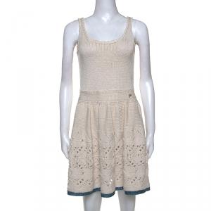 Chanel Cream Silk Blend Crochet Knit Sleeveless Dress M