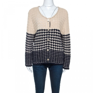 Chanel Navy Blue And Beige Knit Cardigan XL