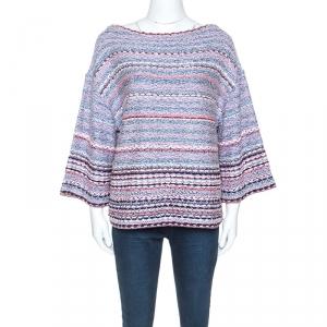 Chanel Multicolor Tweed Bateau Neck Sweater L