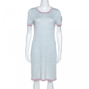 Chanel Pale Blue Striped Cashmere Knit Logo Embroidered Dress L - used