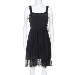 Chanel Black Silk Lace Trim Detail Pleated Dress M