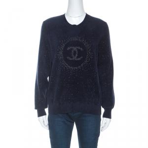 Chanel Navy Blue Logo Pattern Jacquard Detail Sweater M