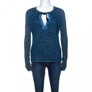 Chanel Blue-Green Tweed Mohair Wool Chain Detail Cardigan M
