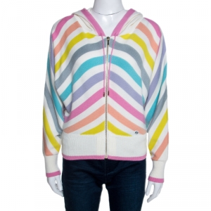 Chanel Multicolor Striped Cashmere Knit Hooded Sweatshirt S