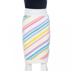 Chanel Multicolor Striped Cashmere Knit Pencil Skirt S