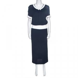 Chanel Navy Blue Rib Knit Contrast Trim Detail Midi Dress M - used
