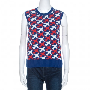 Chanel Blue Flight Patterned Jacquard Cashmere Sleeveless Sweater M