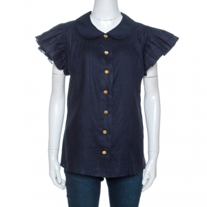Chanel Navy Blue Linen Pleated Ruffled Sleeve Top S