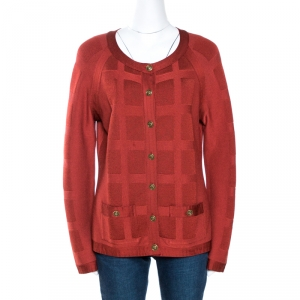 Chanel Brick Red Textured Knit Button Front Cardigan L