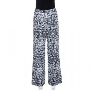 Chanel Monochrome Lurex Tweed Wide Leg Pants S