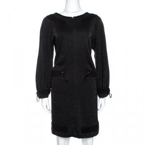 Chanel Black Lurex Knit Drawstring Waist Long Sleeve Dress L - used