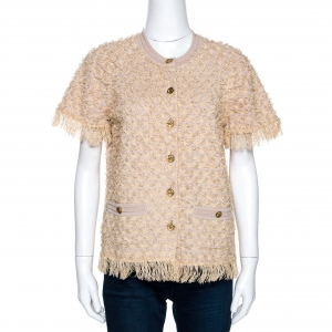 Chanel Beige Eyelet Knit Fringed Button Front Cardigan M