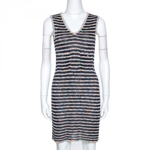 Chanel Multicolor Textured Stripe Knit Shift Dress S - used