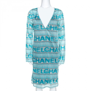 Chanel Blue Logo Print Cotton Beach Cover Up Tunic M