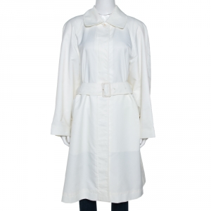 Chanel Vintage Off White Belted A Line Trench Coat S